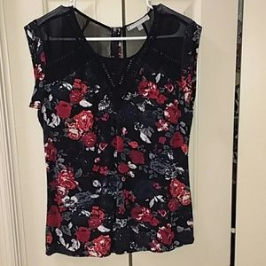 673179a24c0243 Daniel Rainn black and floral rayon blouse